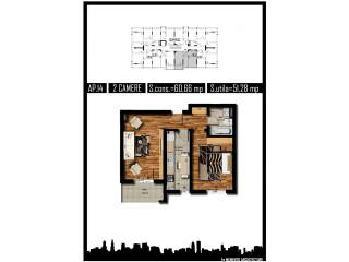 Apartament 2 camere 50 mp utili Militari H&M